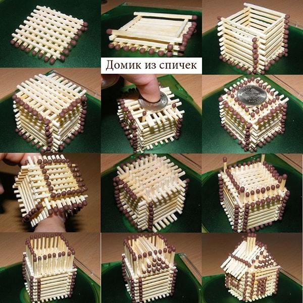 Инструкция как сделать из спичек домик